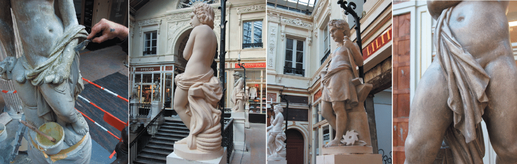 Etape 1 : Décapage des anciennes couches de peinture Etape 2 : Statue avec couche intermédiaire de badigeon Chaux du Rocher Etape 3 : Un Gel pour Patine gris terre a été appliqué et la Cire de Carnauba qui lustre et protège l'ensemble